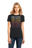 Ladies Black Port Clinton, OH | Retro, Vintage Style Ohio Pride  T-shirt