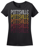 Ladies Black Pottsville, AR | Retro, Vintage Style Arkansas Pride  T-shirt