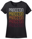 Ladies Black Princeton, WV | Retro, Vintage Style West Virginia Pride  T-shirt