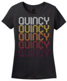 Ladies Black Quincy, MA | Retro, Vintage Style Massachusetts Pride  T-shirt