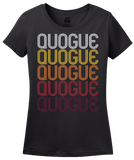 Ladies Black Quogue, NY | Retro, Vintage Style New York Pride  T-shirt