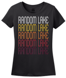 Ladies Black Random Lake, WI | Retro, Vintage Style Wisconsin Pride  T-shirt