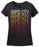 Ladies Black Rapid City, SD | Retro, Vintage Style South Dakota Pride  T-shirt