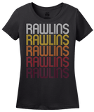 Ladies Black Rawlins, WY | Retro, Vintage Style Wyoming Pride  T-shirt