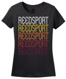 Ladies Black Reedsport, OR | Retro, Vintage Style Oregon Pride  T-shirt