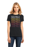 Ladies Black Seelyville, IN | Retro, Vintage Style Indiana Pride  T-shirt