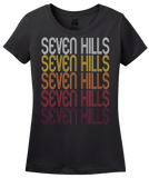 Ladies Black Seven Hills, OH | Retro, Vintage Style Ohio Pride  T-shirt