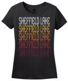 Ladies Black Sheffield Lake, OH | Retro, Vintage Style Ohio Pride  T-shirt