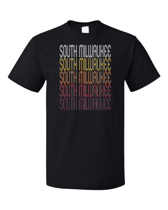 Standard Black South Milwaukee, WI | Retro, Vintage Style Wisconsin Pride  T-shirt
