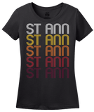 Ladies Black St. Ann, MO | Retro, Vintage Style Missouri Pride  T-shirt