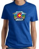 Ladies Royal Welcome To Greeley, Colorado - Overland Trail Denver Broncos T-shirt