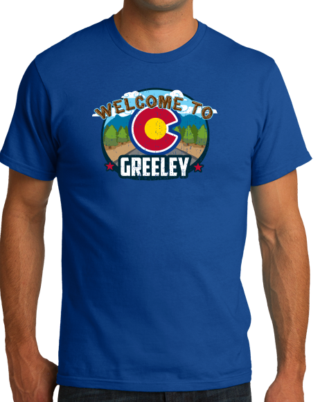 Standard Royal Welcome To Greeley, Colorado - Overland Trail Denver Broncos T-shirt
