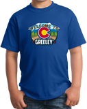 Youth Royal Welcome To Greeley, Colorado - Overland Trail Denver Broncos T-shirt