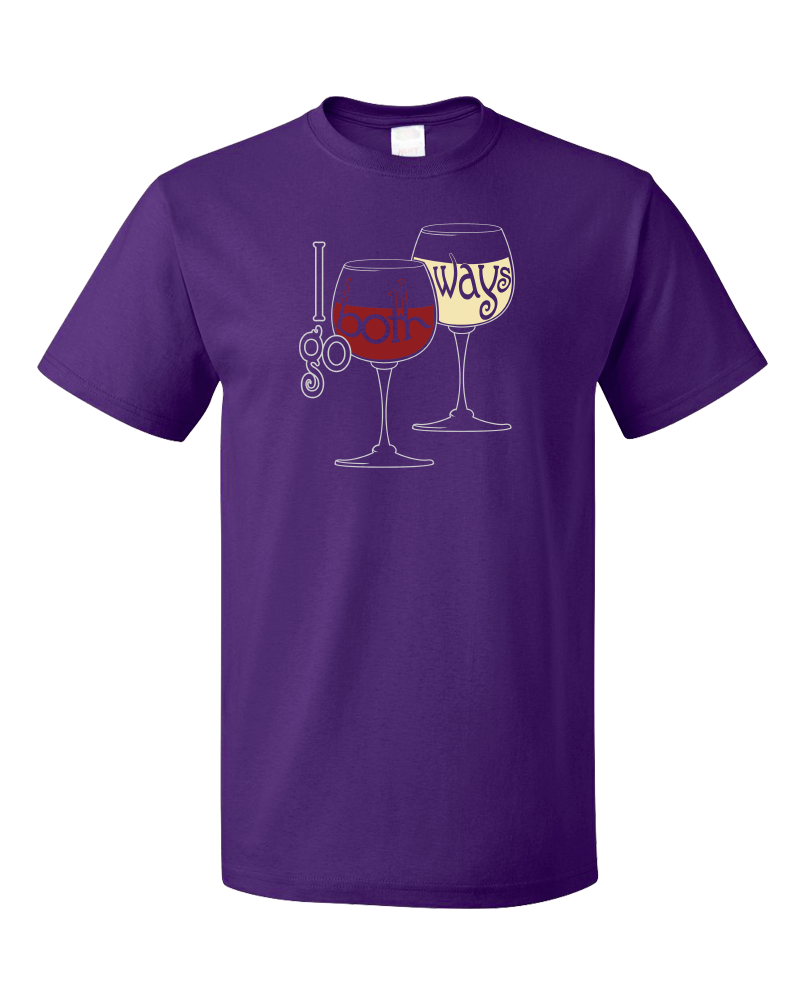 Standard Purple I Go Both Ways - Red Wine White Lover Wino Humor Oenophile T-shirt