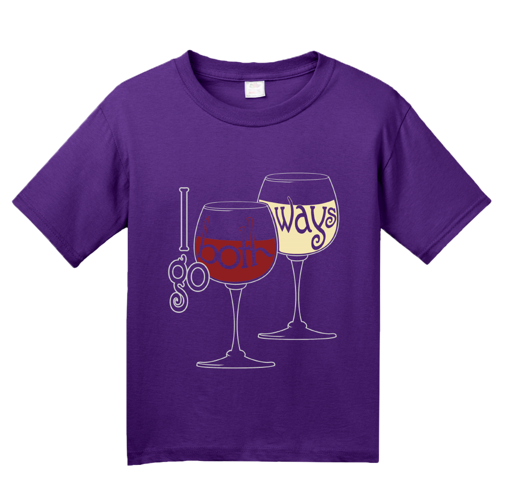 Youth Purple I Go Both Ways - Red Wine White Lover Wino Humor Oenophile T-shirt