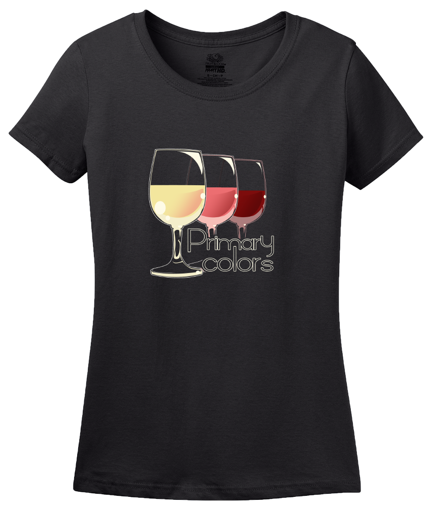 Ladies Black Primary Colors - Wine Lover Rose Red White Drinker Funny T-shirt