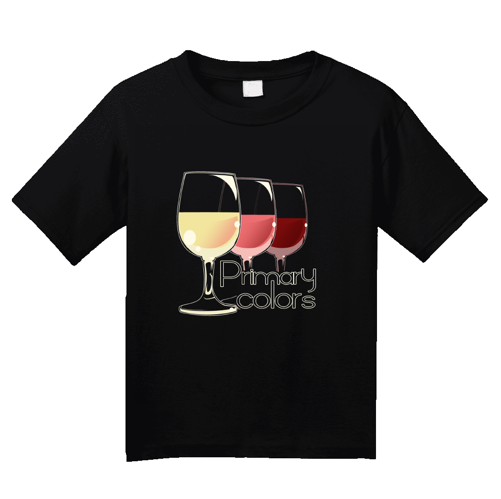 Youth Black Primary Colors - Wine Lover Rose Red White Drinker Funny T-shirt