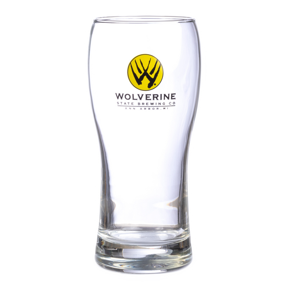 Wolverine State Brewing Company Pint Glass with Black and Yellow Claw logo
