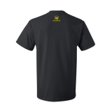 Black Unisex T-shirt with Small Yellow Wolverine Logo on Back Tag