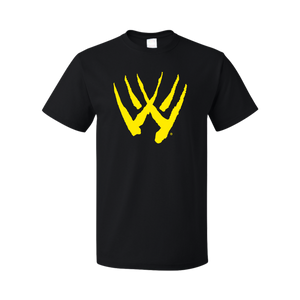 Black Unisex T-shirt with Yellow Wolverine Claw on Full Chest
