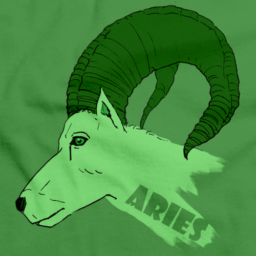 ZODIAC ARIES THE RAM Green art preview