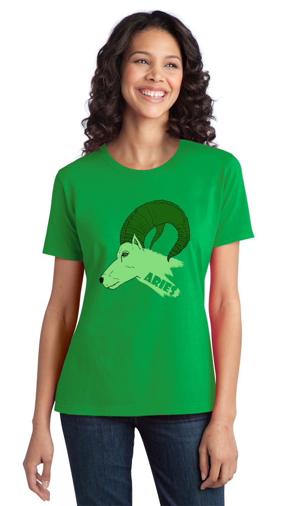 Ladies Green Zodiac Aries The Ram - Horoscope Astrology Fan Star Sign T-shirt