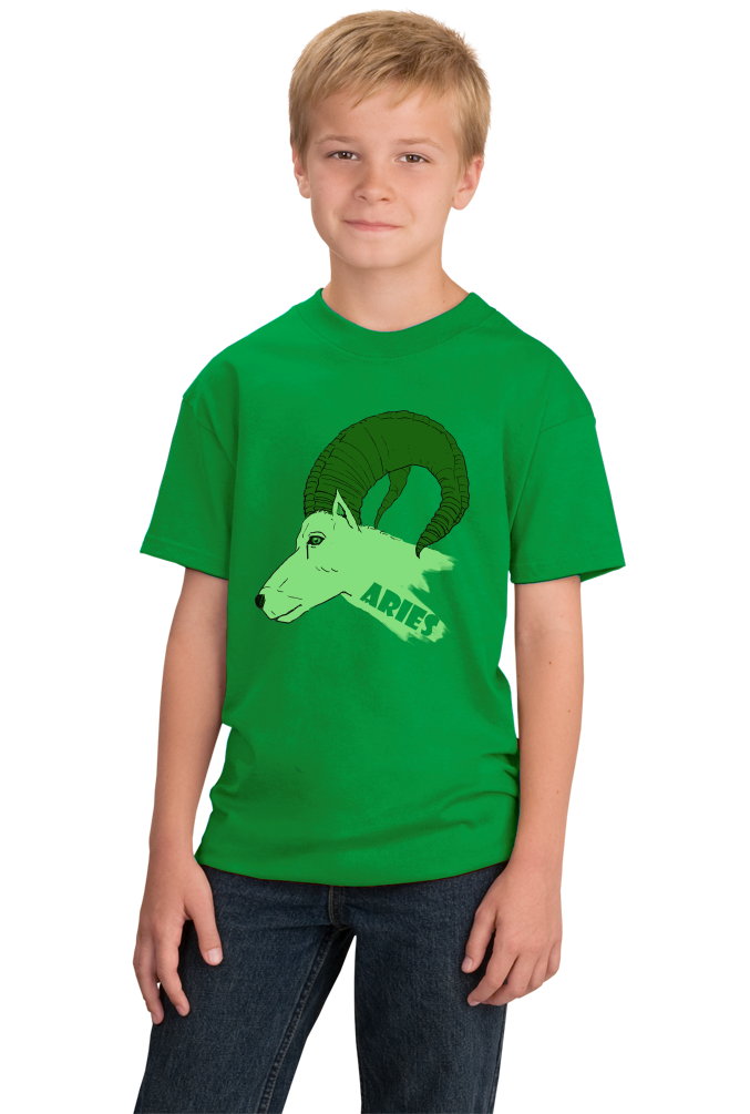 Youth Green Zodiac Aries The Ram - Horoscope Astrology Fan Star Sign T-shirt