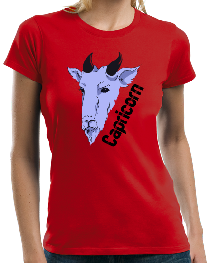 Ladies Red Zodiac Capricorn - Horoscope Astrology Fan Star Sign Goat T-shirt