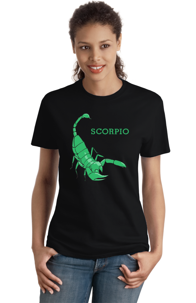 Ladies Black Zodiac Scorpio - Horoscope Astrology Fan Star Sign Scorpion T-shirt