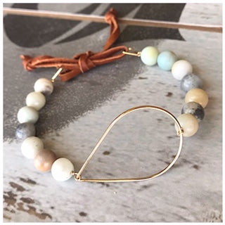 Amazonite leather bracelet - ROWAN + RAE designs
