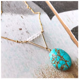 Turquoise & Moonstone V necklace