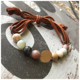 Circle Amazonite leather bracelet - ROWAN + RAE designs