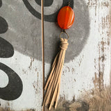 Orange agate with blonde tassel - ROWAN + RAE designs