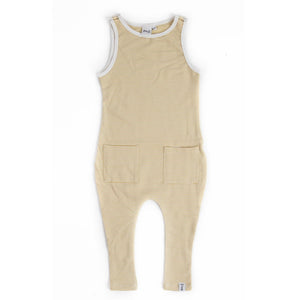 SLEEVELESS ROMPER - STRIPEY LEMON-ADE