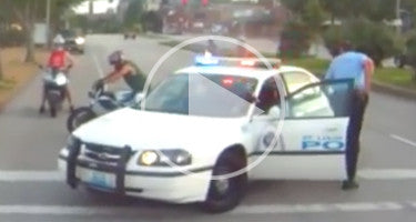 COP THROWS BIKER AFTER STUNTING ACCIDENT