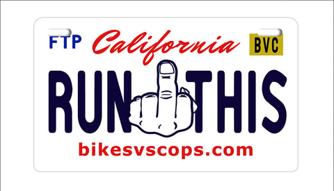 RUN THIS PLATE - CALIFORNIA BLACK