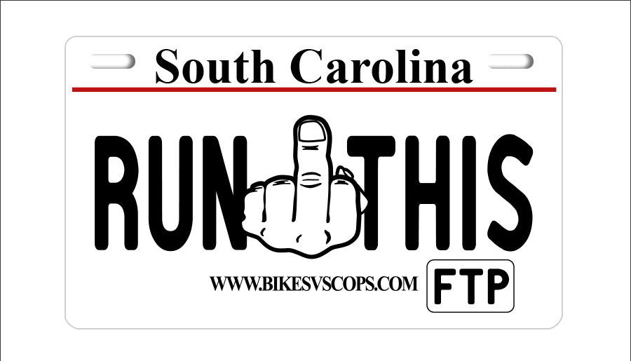 RUN THIS PLATE - SOUTH CAROLINA