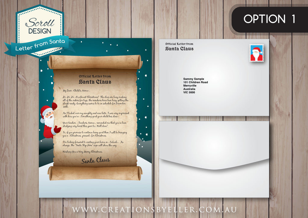 personalised letter from santa scroll design design ink