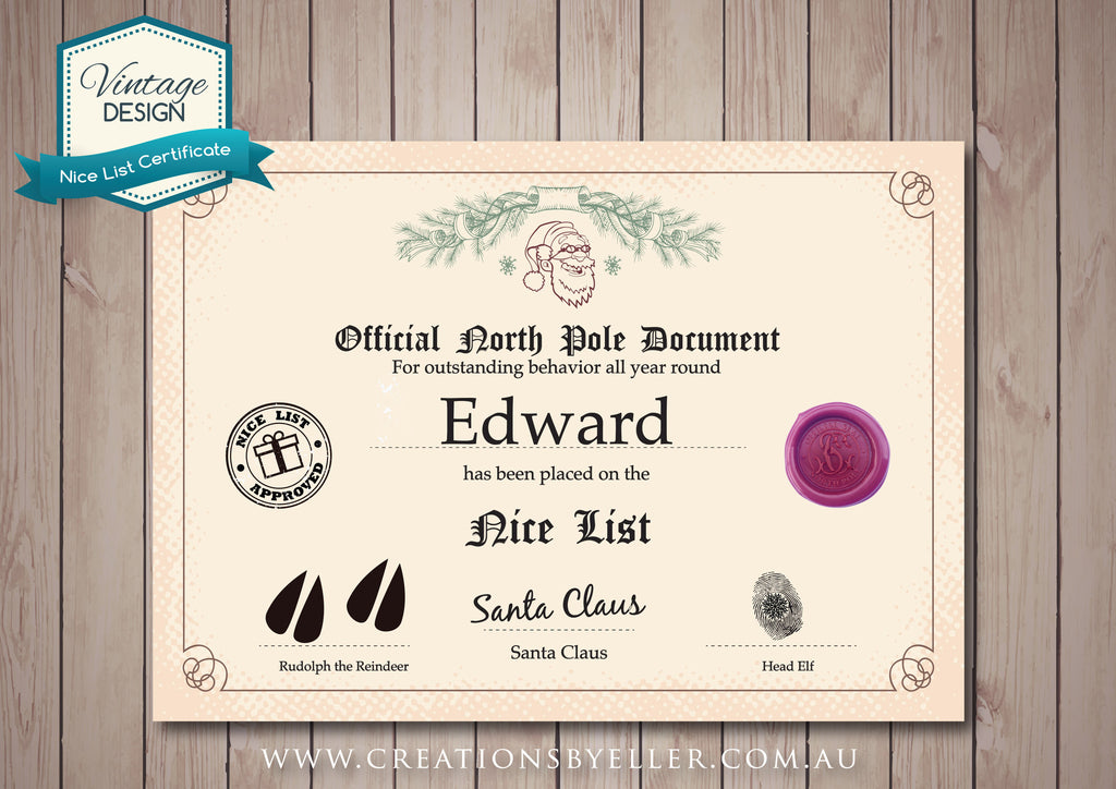 Personalised Nice List Certificate Vintage Design Design Ink