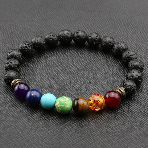 7 Chakra Healing Beads Bracelet with  Black Lava Beads