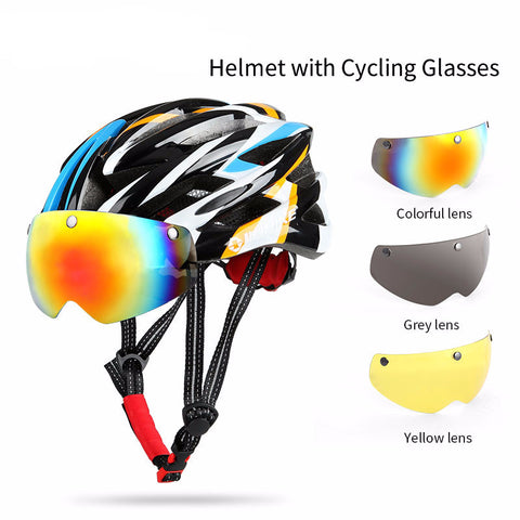 Premium Cycling Helmet with 3 Interchangeable Lens - Best solution for cyclist with Myopia