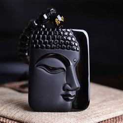 Natural Obsidian Stone 1 Sided Buddha Head Pendant