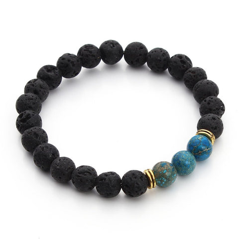 Premium Black Lava Stone Imperial Beads with Healing Chakra
