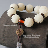 Hand Carved White Lotus Flower Beads Bodhi Bracelet + Lucky Fish Charm