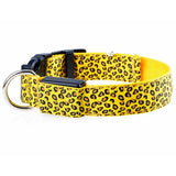 Hot Leopard Poka Dots LED Pugs Dogs + Cat Collar with 3 mode of safety LED 2.5cm