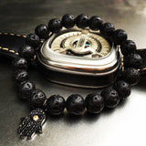 Premium Handmade Lava Stones + Hamsa Charm bracelet for Men - Aids Calming and Spiritual