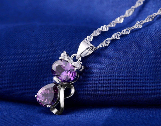 Cute Cat 1.8 Carat Austrian Zircon Crystal Pendant + Necklace Set