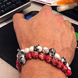 Premium Handmade White Turquoise Stones + Spartan bracelet for Men - Enhance Immune System + Regeneration