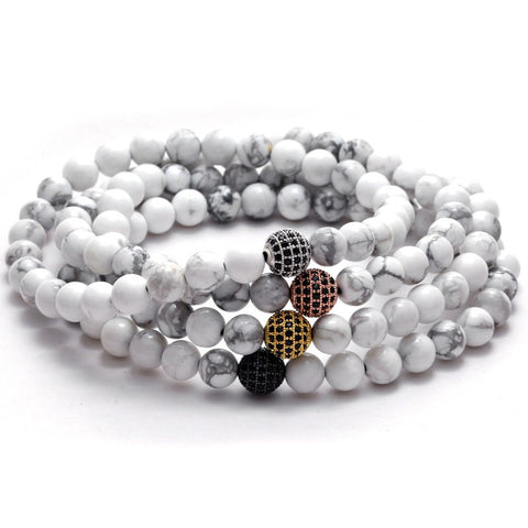 Premium Handmade White Turquoise Stone Bracelets for Men - Enhance Immune System + Regeneration