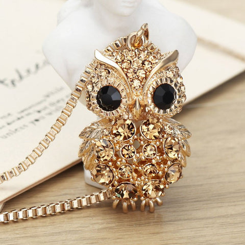 Gold Plated Rhinestone Owl Necklace + Pendant Set